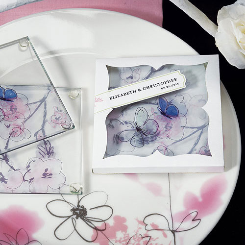 botanical wedding favor coaster set