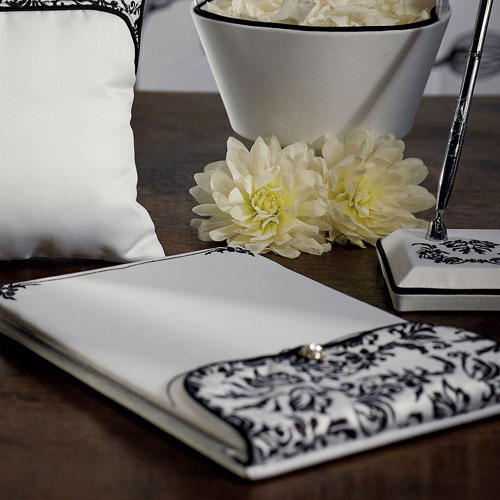 Love Bird Damask in Classic Black and White Guest Book