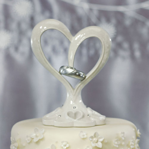 Stylized Heart & Wedding Bands Cake Topper