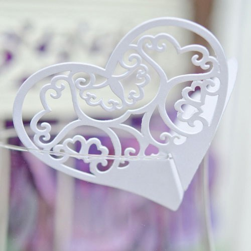 Laser Expressions Double Heart Filigree Die Cut Card – Standard Paper