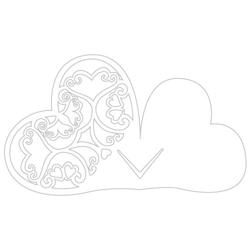 Laser Expressions Double Heart Filigree Die Cut Card – Shimmer Paper