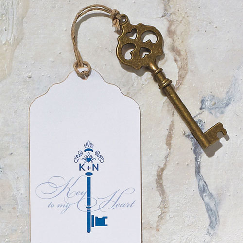 Antique Key Charm Style 4 - Double Hearts