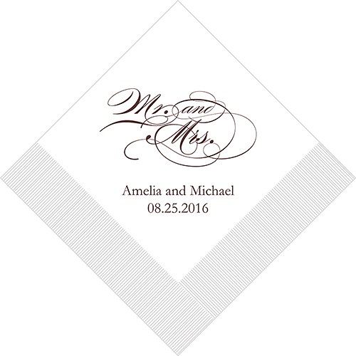 Mr and Mrs Script Printed Napkins The Knot Shop