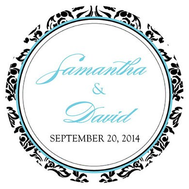 Wedding Gift Sticker Template : Love Bird Damask Large Sticker - The Knot Shop