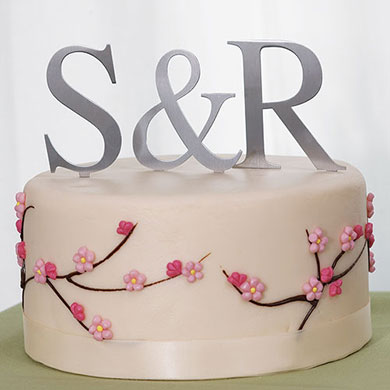 Wedding Cake Toppers Letters Uk : Brushed Silver Monogram Cake Topper - Confetti.co.uk