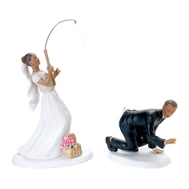 39 catch of the day 39 fishing wedding cake topper the knot shop for Fishing cake toppers