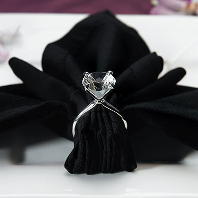 Silver Plated Diamond Engagement Ring Napkin Holders