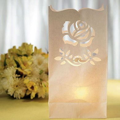 Light The Way Luminary Bags With Die Cut Rose Pattern The Knot