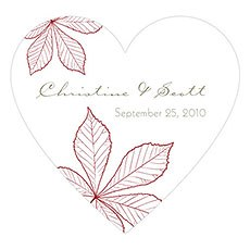 Autumn Leaf Heart Sticker
