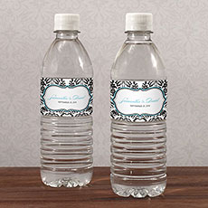 Love Bird Damask Water Bottle Label