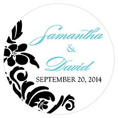 Love Bird Damask Small Sticker