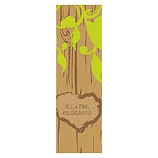 Carved Initials Tree Small Rectangular Tag