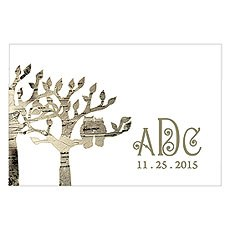 Owl Silhouette in Tree Large Rectangular Tag