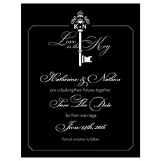 Key Monogram Save The Date Card