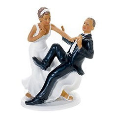 "Comical Couple with the Groom ""Taking a Plunge"" Cake Topper"