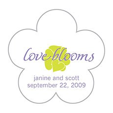 White with Lavender Flower Shaped Stickers
