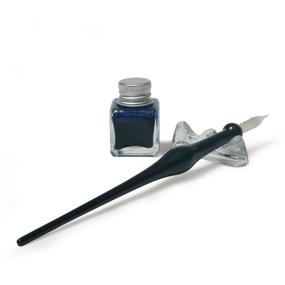 Black Glass Pen With Holder And Liquid Ink