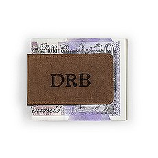 Tanned Genuine Leather Magnetic Money Clip - Personalized